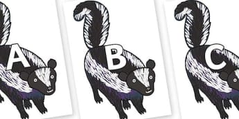 A-Z Alphabet on Skunk to Support Teaching on The Bad Tempered Ladybird - A-Z, A4, display, Alphabet frieze, Display letters, Letter posters, A-Z letters, Alphabet flashcards
