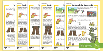 Jack and the Beanstalk Traditional Tales Differentiated Reading Comprehension Arabic/English - Jack and the beanstalk, traditional tale, KS1 reading, comprehension, questions,comprehesion,compreh