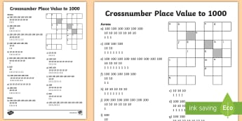 LKS2 Crossnumber Place Value to 1000 Activity Sheet - Crossword, Across, Down, Diences, Tens and Units