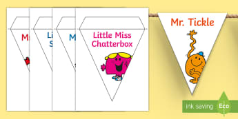 Mr. Men and Little Miss Display Bunting - Roger Hargreaves, Mr. Strong, Little Miss Sunshine, Mr. Bump, Little Miss Chatterbox, Mr. Tickle, Mr