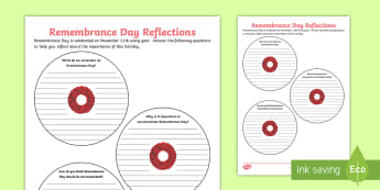 Remembrance Day Reflections Writing Activity Sheet - memorial, moment of silence, poppy day, november 11, veterans