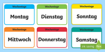 Die Tage der Woche Flashcards German - german, days of the week, flashcards, flash cards, days, week