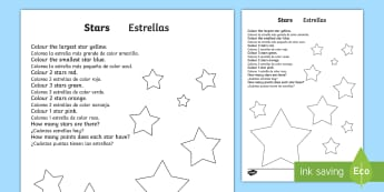 Star Colouring Comprehension Worksheet / Activity Sheet English/Spanish - Star Colouring Comprehension Sheet - colouring, comprehension, comprehesion, colering, comprehnsion,