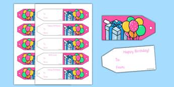 Birthday Gift Tags - Birthdays, gift tag, gift tags, birthdays,party invitation, invitations, party food, cake, balloons, happy birthday, birthday role play
