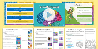 Whole School Growth Mindset Themed Day and Assembly Pack - attitude, pMA, fixed mindset, changing mindset, Progress.