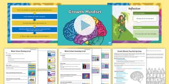 Whole School Growth Mindset Themed Day and Assembly Pack - attitude, pMA, fixed mindset, changing mindset, Progress.