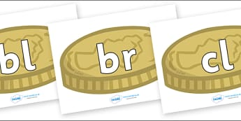 Initial Letter Blends on Coins - Initial Letters, initial letter, letter blend, letter blends, consonant, consonants, digraph, trigraph, literacy, alphabet, letters, foundation stage literacy
