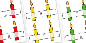 Editable Self Registration Multicoloured Candles Plain - self registration, self-registration, editable, editable labels, multicoloured candles, candle labels, multicoloured candle labels, editable self registration labels, labels, registration, chil