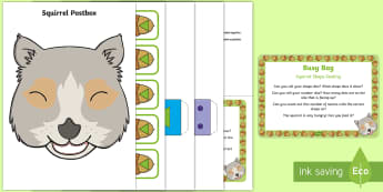 Squirrel Shape Posting  Busy Bag Prompt Card and Resource Pack - Woodland, Woods, Forest, Dice, Number, Shape, Animals, Squirrel,