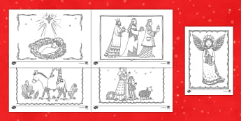 Nativity Christmas Mindfulness Coloring Activity - Christmas, Nativity, art, coloring, activity, mindfulness, religion