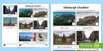 Edinburgh Checklist Activity Sheet - Worksheet, holidays, tourist, landmarks, scotland, city, family
