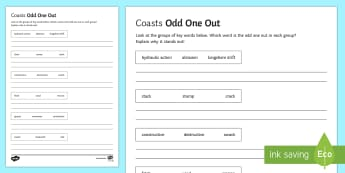 Coasts Activity Sheet - Coasts, management, erosion, transportation, deposition, waves, tourism