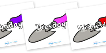 Days of the Week on Trowels - Days of the Week, Weeks poster, week, display, poster, frieze, Days, Day, Monday, Tuesday, Wednesday, Thursday, Friday, Saturday, Sunday