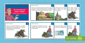 The Dual World of Anders Arnfield Multiplication and Division Maths Challenge Cards - problem solving, math, number, story, fiction, word problem, multi-step, mastery