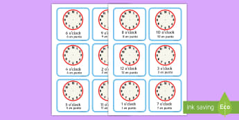 Write the Time O'Clock Cards English/Spanish - Write the Time O'clock Cards - write, time, o'clock, cards, clocks, Timw, EAL, Spanish, English-S