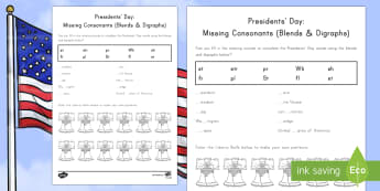 Presidents' Day Missing Consonants (Blends and Digraphs) Activity Sheet - American Presidents, American History, Social Studies, Abraham Lincoln, George Washington, Flag, Lib