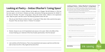 'Living Space' by Imtiaz Dharker Activity Sheet - revision, poetry revision, GCSE poetry, EDUQAS poetry, WJEC poetry anthology, Living Space, Imtiaz D