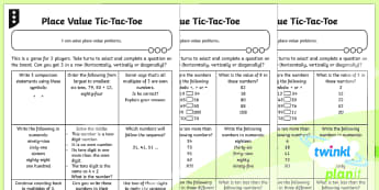 PlanIt Maths Y2 Number and Place Value Tic-Tac-Toe Problem Solving Differentiated Home Learning Tasks - maths planning, solve, problems, challenge, mastery, Game, numbers to 100, partition, read and write