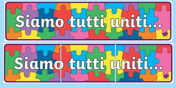 Siamo tutti uniti Striscione - stiamo, tutti, siamo, tutti, uniti, classe, elementari, strisicone, decorazione, italiano, italian,
