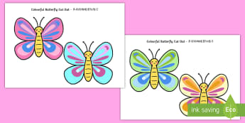 Colourful Butterfly Cut-Outs English/Mandarin Chinese - Colourful Butterfly Cut Out - colourful, butterfly, cut out, activity, minibeast,minbeast, EAL