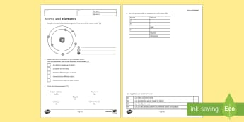 Atoms and Elements Homework Activity Sheet - Homework, atom, atoms, element, elements, structure of atom, Dalton, worksheet, particle, particles