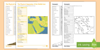 Physical Geography of the Middle East Activity Pack - Middle East, map, countries, Atlas skills, rivers, mountains, rivers, sea, mountain ranges, Word sea