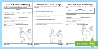 -tious and -cious Word Endings Differentiated Activity Sheets - SPaG, GaPS, creating adjectives, noun into adjective, suffix, suffixes, words with shun sound, spell
