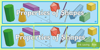 UKS2 Properties of Shapes Working Wall Display Banner - 2d shape, 3d shape, maths display, classroom display, missing angles, angle, area, perimeter