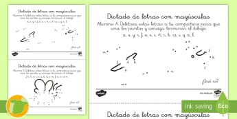 Dictado de letras Dot to Dot Activity Sheet  - abecedario, mayúsculas, minúsculas, sigue los puntos, letras,Spanish