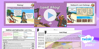 PlanIt Maths Y2 Addition and Subtraction Solve Problems (4) Lesson Pack - pirates, concrete, pictorial, abstract, bar-model, part-whole diagram, mastery, explain, shanghai, s