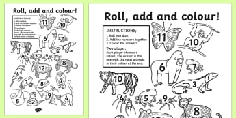 Jungle Themed Roll And Colour Worksheet / Activity Sheet - jungle, colour, game