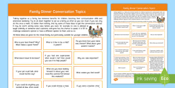 Conversation Starters for Family Mealtimes Parent and Carer Information Sheet - communication, family, talking, language, parents