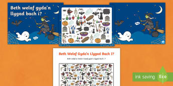 Pecyn Adnoddau Beth Welaf Gyda'n Llygad Bach i? Calan Gaeaf - Halloween, Calan, Gaeaf, Nos, Galangaeaf, i spy. beth, welaf, gyda'n llygad. bach,,Welsh