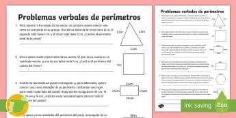 Ficha de actividad: Problemas verbales de perímetros - perimetros, perimetro, area, areas, matematicas, matematica, resolver, resolución, resolucion, prob