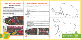 Make Your Own Altamira Cave Art  Activity Pack - English/Spanish - Altamira, stone age, prehistory, Spanish history, Palaeolithic, cave paintings, bison, archaeologist