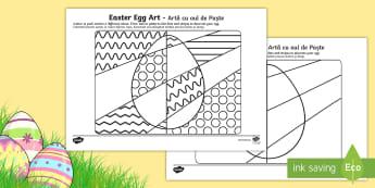 Easter Egg Art Activity Sheet English/Romanian - easter, easter eggs, colouring, eal, romania, translated