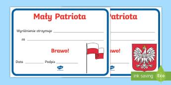 Certyfikat Mały Patriota - dzień, niepodległości, maj, maja, trzeci, trzeciego, orzeł, orzełek, dyplom, dyplomy, certyfika