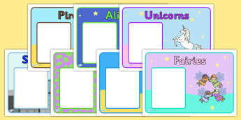 Editable Guided Reading Group Signs (Fantasy) - fantasy, group signs, group labels, group table signs, table sign, teaching groups, class group, class groups, table label, fantasy, teddy bear, mermaid, fairy, pirates