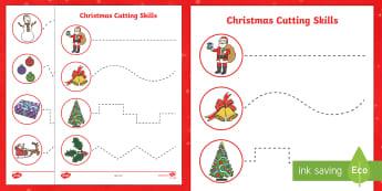Christmas Themed Cutting Skills Activity Sheets