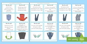 Was bin ich? Kleidung Ratespiel DIN A4 Karteikarten  - logisches Denken, Lesen, Zusammenhänge, Schlüsse ziehen, Zusammenhang, Kleidung,,German