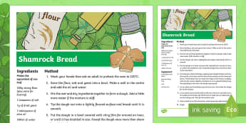 KS2 St Patrick's Day Shamrock Bread Recipe - KS1& 2 St Patrick's Day UK March 17th 2017, recipe, instructions, bread, shamrock, St Patrick's Da