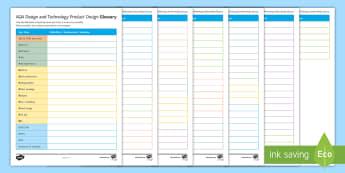 Product Design Glossary Activity Sheet - English - Glossary, Revision, Literacy, Keywords, Product Design, Homework, worksheet