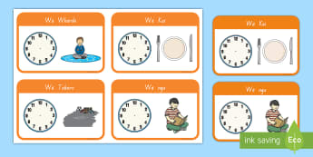 He aha te wā? Flashcards - daily routine, times, clocks, karaka, matawa, clock, hour, time, wā