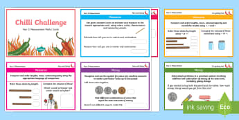 Chilli Challenge Year 2 Measurement Maths Cards - Challenge Cards, KS1, Maths Mats, Length Weight and Height, Time
