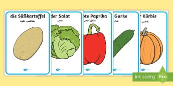 Deutsch-Arabische Gemüse Wortschatz: Poster-German - Deutsch lernen, Deutsch-Arabische Materialien, Deutsch Arabische Materialien, Deutsch Arabische Lehr