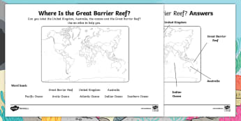 Starry-Eyed Stan Where Is the Great Barrier Reef? Activity Sheet - Twinkl Originals, Fiction, under the sea, seaside, beach, oceans, KS1, Maps, Oceans, Australia, Unde