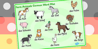 Farm Animals Word Mat German - Animals, Farm, Word, Mat, German