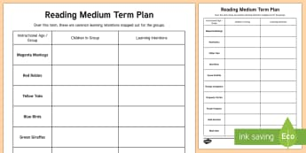 Colour Wheel Reading Medium Term Planning Template - New Zealand, Planning, Assessment, learning intentions, groups, reading, plan, animals