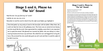 Northern Ireland Linguistic Phonics Stage 5 and 6 Phase 4a 'air' Sound Activity Sheet  - Worksheet, sound search, text, grapheme, phoneme