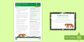 Rainforest Terrarium STEM Activity and Prompt Card Pack - STEM, rainforest STEM activity, rainforest terrarium, terrarium, rainforest activity and prompt card